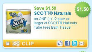 HIGH VALUE COUPON: $1.50/1 Scott Naturals 12 Pack Bath Tissue