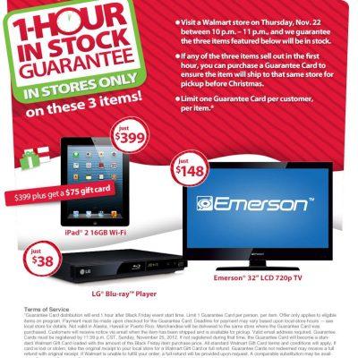 #Walmart #BlackFriday iPad 2, 32″ Emerson TV & $38 Blu-Ray Player Guaranteed In Stock
