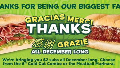 Subway: $2 Subs all December Long!