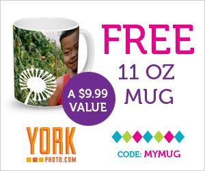 FREE 11 oz Personalized Mug from York Photo (Shipping Starts at $5)