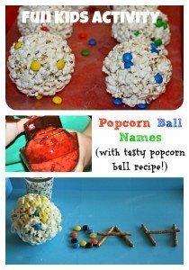 Kids Activity: Popcorn Ball Names w/ M&M's and Pretzel Sticks (Plus Popcorn Ball Recipe!)