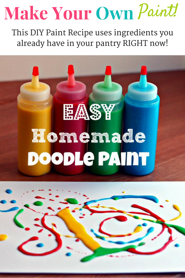 This DIY make your own paint recipe uses ingredients you likely already have in your pantry right now! This fun paint recipe for kids is super easy to make and there are endless possibilities for your kids to create! Even better, it is technically edible paint, so even your littlest ones can experiment! #paint #paintforkids #homemadepaint #homemadepaintrecipe #craftsforkids #diypaintrecipe