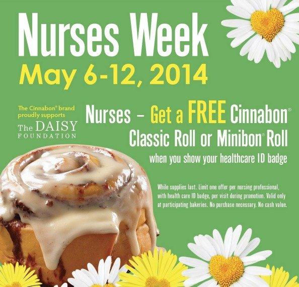 FREE Cinnabon Classic Roll for Nurses May 6-10th
