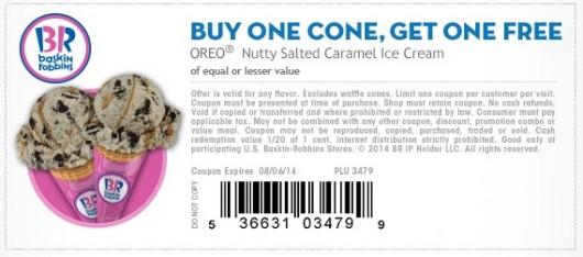 Buy One Get One FREE Coupon at Baskin Robbins