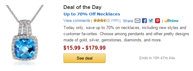 Amazon Gold Box: Up to 70% Off Necklaces – Prices  Start at $15. 99