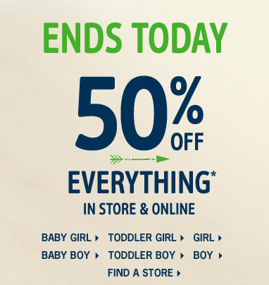 Osh Kosh and Carter's: 50% Off Everything Plus 25% Off and Free Shipping Coupon Code