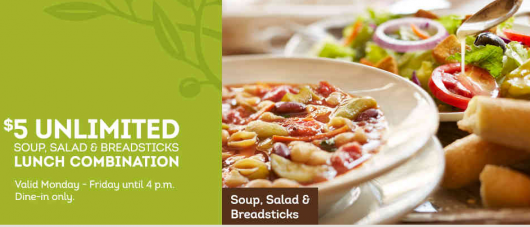 5 Unlimited Soup Salad And Breadsticks Combo From Olive Garden With Coupon Family Friendly