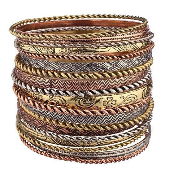 Set of 19 Mixed Metal Bangle Bracelets On Sale .95