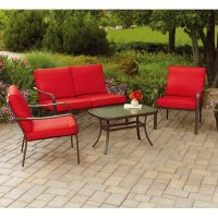 Mainstays Stanton Cushioned 4-Piece Patio Conversation Set, Red or Tan On Sale Just $169 (Reg.  $269)