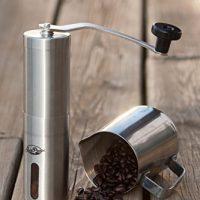 JavaPresse Manual Coffee Grinder, Conical Burr Mill, Brushed Stainless Steel On Sale Just $23.99 (Reg.$35.99)