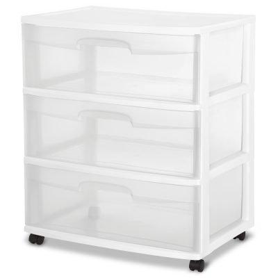 Sterilite 3 Drawer Wide Cart, White Just $16 (Reg.  $19.98)