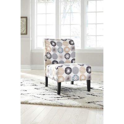 Ashley Furniture Signature Design – Triptis Accent Chair – Contemporary – Gray/Tan Geometric Design – Dark Brown Legs *Low Price!*