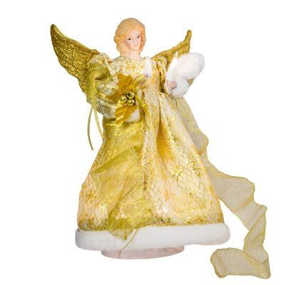 Kurt Adler UL 10-Light 12-Inch Gold Dress Angel Treetop *Great Deal!*