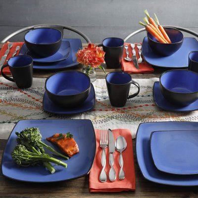 Gibson Soho Lounge Dinnerware set, Square, Blue – $32.99 (REG. $49.99)