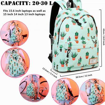 School Backpack Laptop Bag Girls Kids Boys Teens Cactus Bookbag Travel Daypack – $15.96 (REG. $25.99)