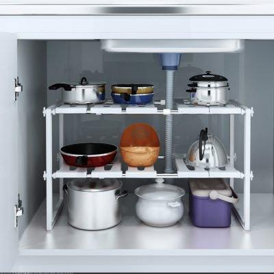 UBesGoo Space Saving Rack 2 Tier Stackable Under Sink Shelf Adjustable Kitchen Cabinet Just $23.99 (Reg.  $31.26)
