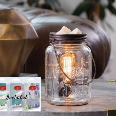 $17 (REG.  $33.99) – Edison Bulb Mason Jar Fragrance Warmer Gift Set With Fresh Linen, Lavender & Ocean Tide Wax Melts
