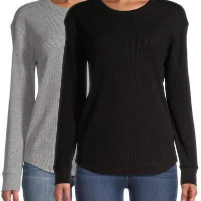 $12 (REG.  $17.96) – Time and Tru Women's Thermal T-Shirt, 2 Pack Bundle