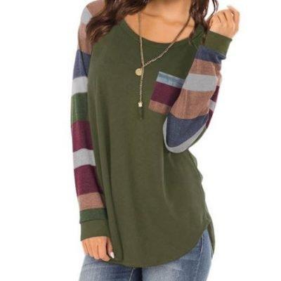 🎄 $17.99 (REG.  $36.99) – Women Round Neck Long Sleeves Color Block Tunic Shirt🎄