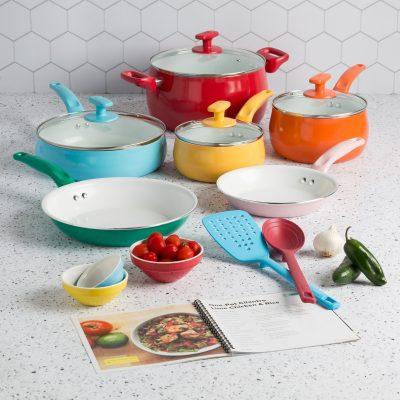 $59 (REG.  $69) – Tasty Ceramic Titanium-Reinforced Non-Stick  Cookware Set, Multicolor, 16 Piece