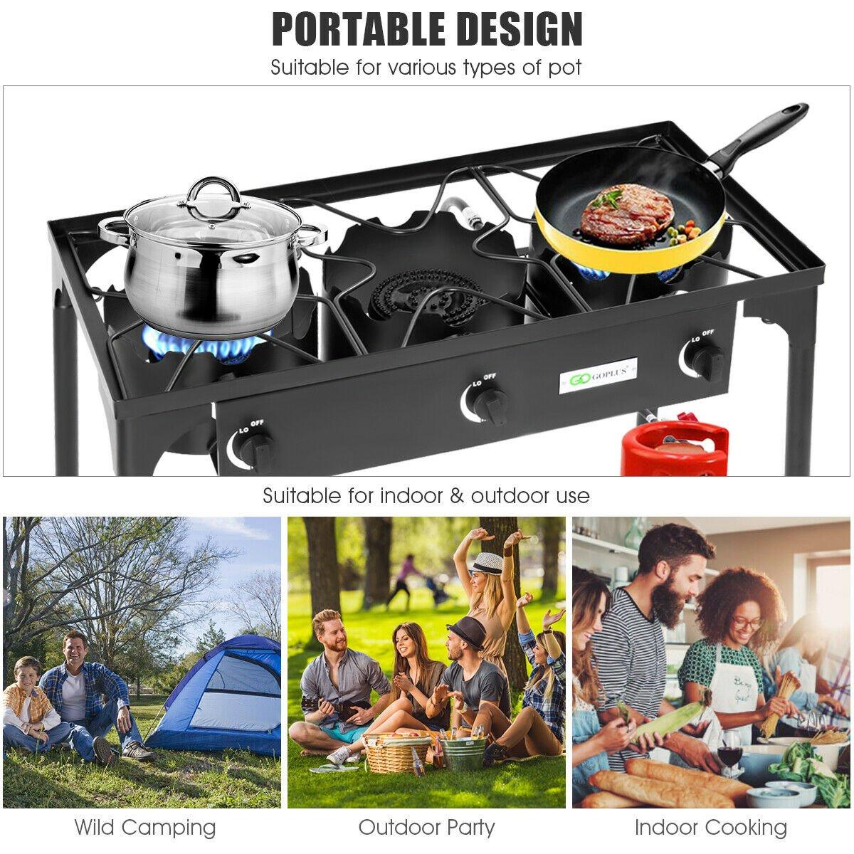 $119.99 (REG.  $199.99) – Goplus Portable Propane 225,000-BTU 3 Burner Gas Cooker Outdoor Camp Stove BBQ