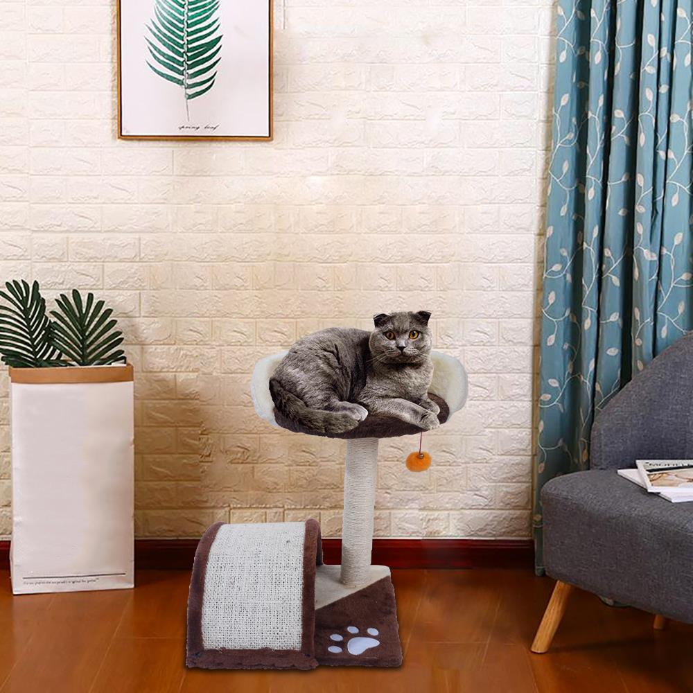$28.59 (REG.  $47.79) – Zimtown 19-in Cat Tree & Condo Scratching Post Tower, Brown