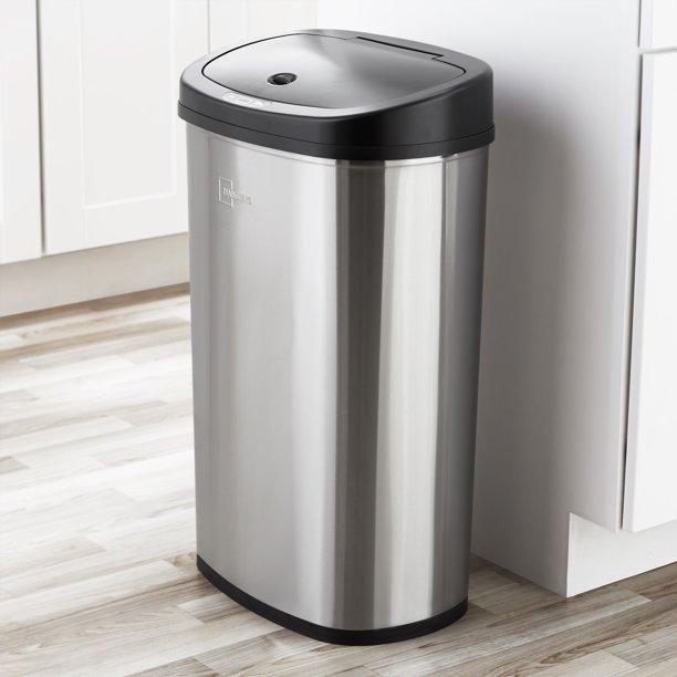 $34.98 (REG.  $47.98) -Mainstays, 13.2 Gal/50 L Motion Sensor Kitchen Garbage Can, Stainless Steel